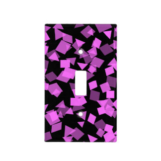 Bright Pink Confetti on Black Light Switch Cover