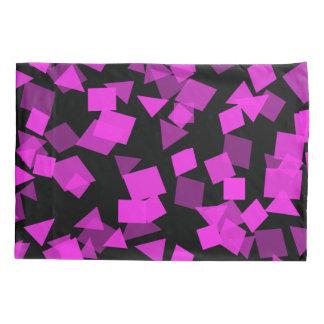 Bright Pink Confetti on Black Pillowcase