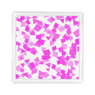 Bright Pink Confetti on White Acrylic Tray