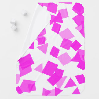 Bright Pink Confetti on White Baby Blanket
