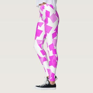 Bright Pink Confetti on White Leggings