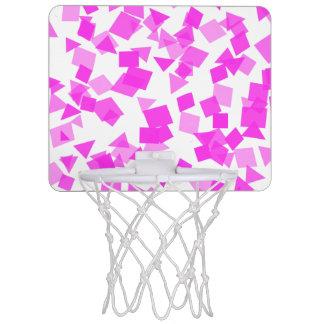 Bright Pink Confetti on White Mini Basketball Hoop