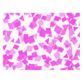 Bright Pink Confetti on White Tablecloth