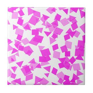 Bright Pink Confetti on White Tile