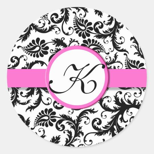 Bright Pink Damask Vintage Floral Wedding Stickers