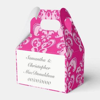 Bright pink damask wedding favor box
