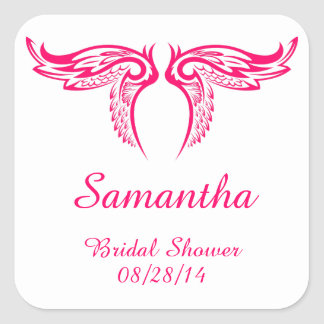 Bright Pink Decorative Wings Bridal Shower Square Sticker