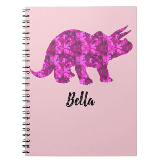 Bright Pink Dinosaur Notebook to Personalize