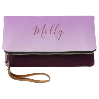 Bright Pink Elegant Personalized Fold Over Clutch