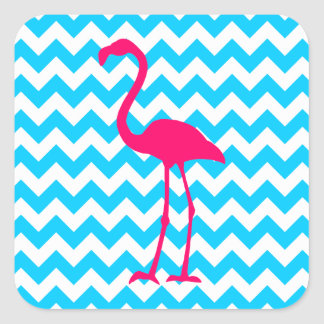 Bright Pink Flamingo Square Sticker
