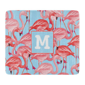 Bright Pink Flamingos On Blue | Add Your Initial Boards