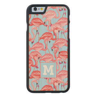 Bright Pink Flamingos On Blue | Add Your Initial Carved® Maple iPhone 6 Slim Case