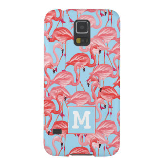 Bright Pink Flamingos On Blue | Add Your Initial Case For Galaxy S5