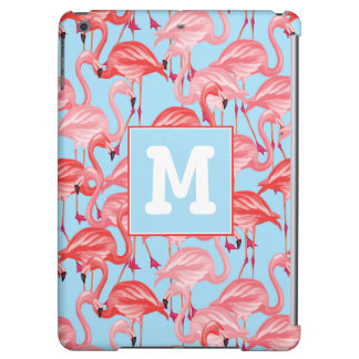 Bright Pink Flamingos On Blue | Add Your Initial Cover For iPad Air