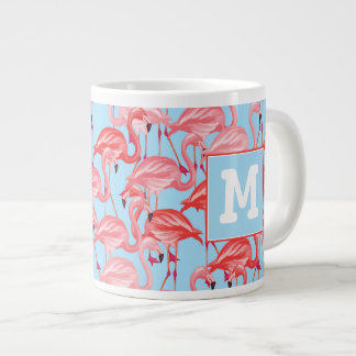 Bright Pink Flamingos On Blue | Add Your Initial Giant Coffee Mug