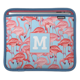 Bright Pink Flamingos On Blue | Add Your Initial iPad Sleeves