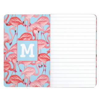 Bright Pink Flamingos On Blue | Add Your Initial Journals