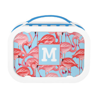 Bright Pink Flamingos On Blue | Add Your Initial Lunch Box