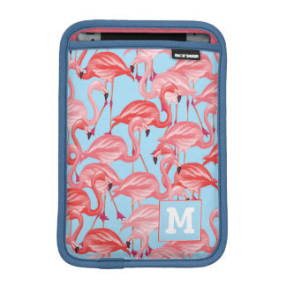 Bright Pink Flamingos On Blue | Add Your Initial Sleeve For iPad Mini