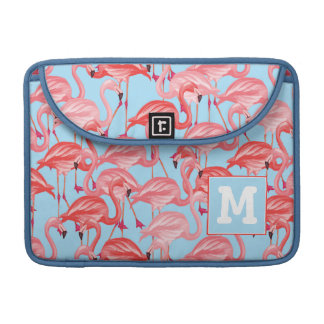 Bright Pink Flamingos On Blue | Add Your Initial Sleeve For MacBooks