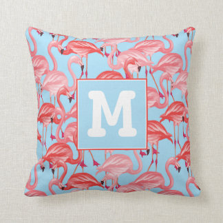 Bright Pink Flamingos On Blue | Add Your Initial Throw Pillow