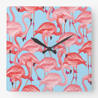 Bright Pink Flamingos On Blue Clocks