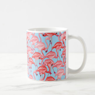 Bright Pink Flamingos On Blue Coffee Mug