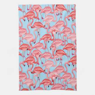 Bright Pink Flamingos On Blue Hand Towel