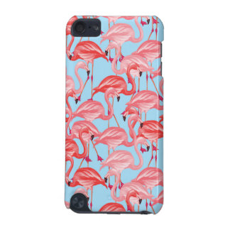Bright Pink Flamingos On Blue iPod Touch (5th Generation) Case