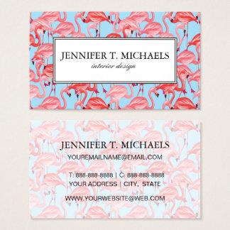 Bright Pink Flamingos On Blue | Monogram Business Card