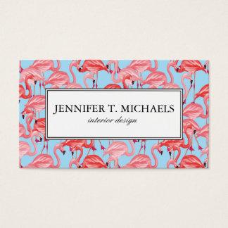 Bright Pink Flamingos On Blue   Monogram Business Card