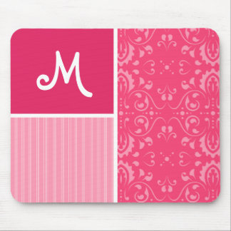 Bright Pink Floral Mouse Pad