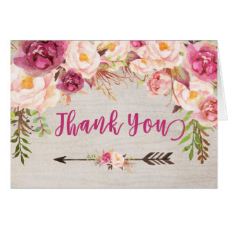 Bright pink  flower water color THank you note Card