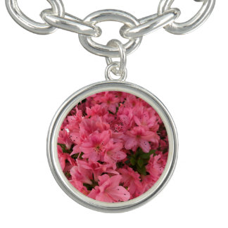 Bright pink flowering bush in the spring bracelet