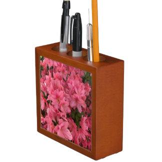 Bright pink flowering bush in the spring desk organizer