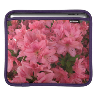 Bright pink flowering bush in the spring iPad sleeve