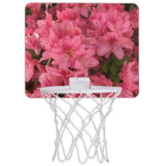 Bright pink flowering bush in the spring mini basketball hoop