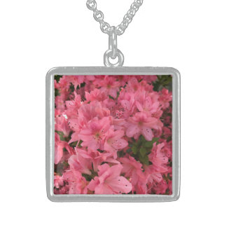Bright pink flowering bush in the spring sterling silver necklace