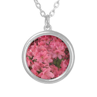 Bright pink flowering bush silver plated necklace