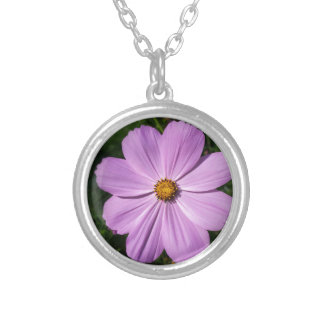 bright pink flowers silver plated necklace