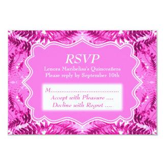 "Bright Pink Foliage Pattern Quinceanera 3.5"" X 5"" Invitation Card"