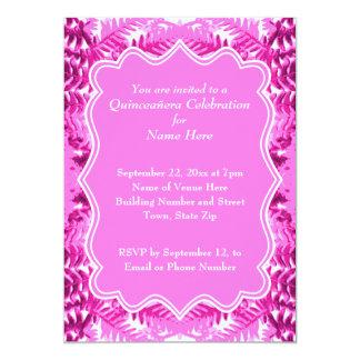 "Bright Pink Foliage Pattern Quinceanera 5"" X 7"" Invitation Card"