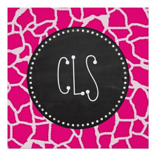 Bright Pink Giraffe Animal Print; Retro Chalkboard