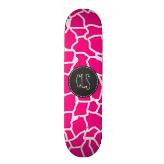 Bright Pink Giraffe Animal Print; Retro Chalkboard Skateboard Decks