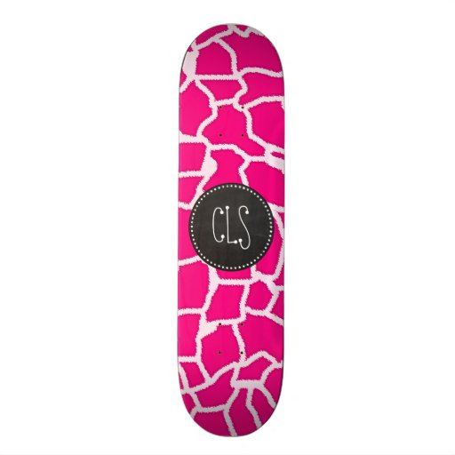 Bright Pink Giraffe Animal Print; Retro Chalkboard Skateboard Decks