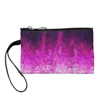Bright pink glitter black cool galaxy pattern change purse