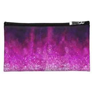 Bright pink glitter black cool galaxy pattern makeup bag