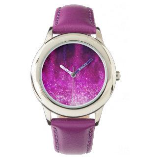 Bright pink glitter black cool galaxy pattern wrist watches