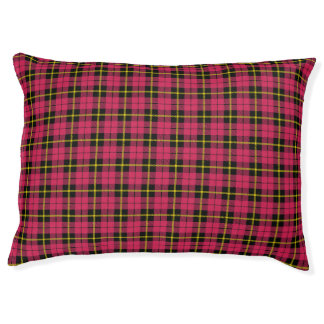 Bright pink, gold/yellow/black stripe small Plaid Pet Bed
