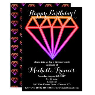 Bright Pink Gradient Diamond Pattern Card
